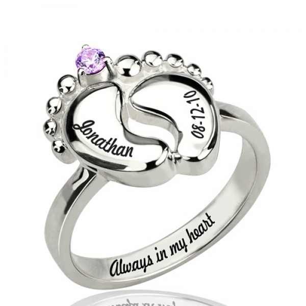 Engraved Baby Feet Solid White Gold Ring with Birthstone