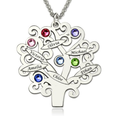 Solid Gold Engraved Family Tree Necklace with Birthstones