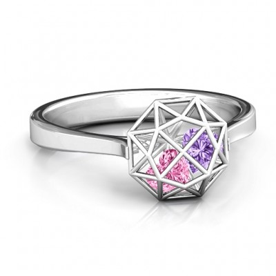 Diamond Cage Solid White Gold Ring with Encased Heart Stones