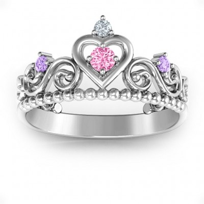 Princess Charming Tiara Solid White Gold Ring