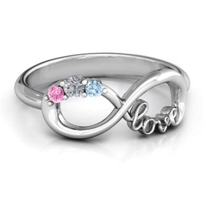 Customised Infinity Promise Solid White Gold Ring With Birthstone Infinity Love Solid Gold Ring