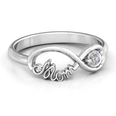 Mom's Infinity Bond Solid White Gold Ring with Birthstone