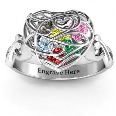 Encased in Love Caged Hearts Solid White Gold Ring with Infinity Band