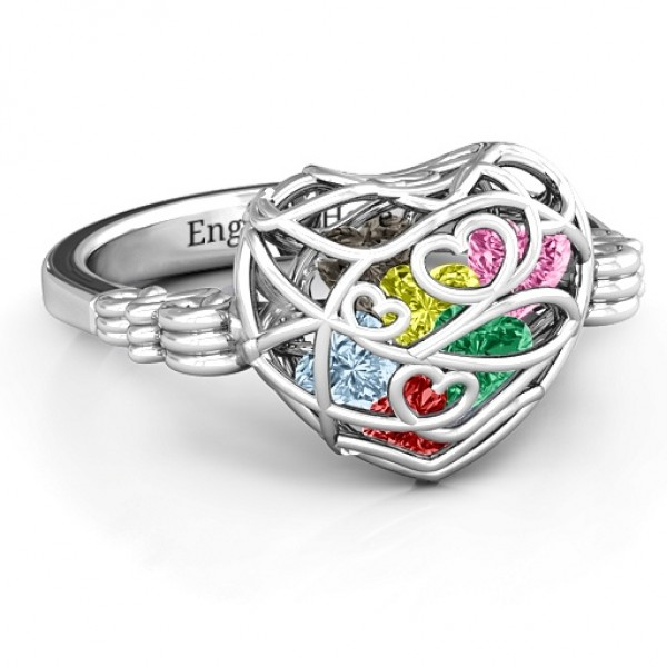Encased in Love Caged Hearts Solid White Gold Ring with Butterfly Wings Band