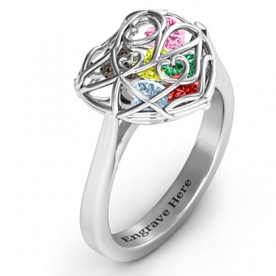 Encased in Love Caged Hearts Solid White Gold Ring with Ski Tip Band