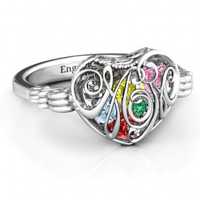 Cursive Mom Caged Hearts Solid White Gold Ring with Butterfly Wings Band