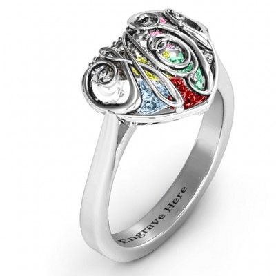 Cursive Mom Caged Hearts Solid White Gold Ring with Ski Tip Band