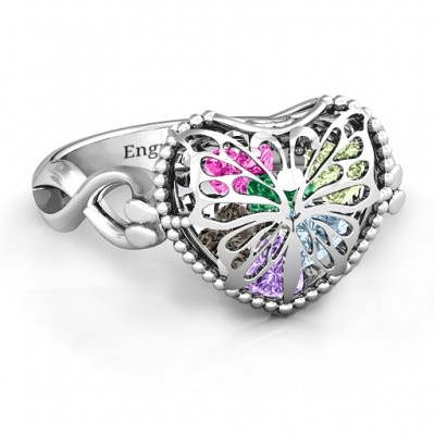 18CT White Gold Butterfly Caged Hearts Ring with Infinity Band