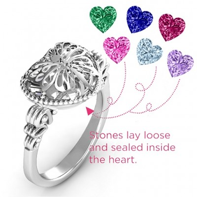 Butterfly Caged Hearts Solid White Gold Ring with Butterfly Wings Band