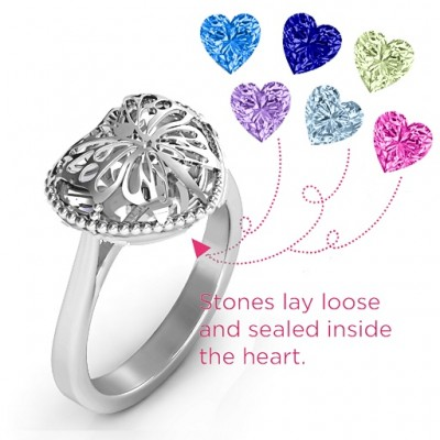 Butterfly Caged Hearts Solid White Gold Ring with Ski Tip Band