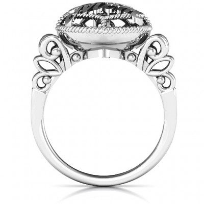 #1 Mom Caged Hearts Solid White Gold Ring with Butterfly Wings Band