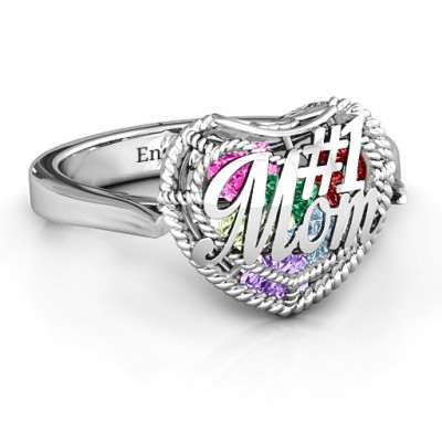 #1 Mom Caged Hearts Solid White Gold Ring with Ski Tip Band