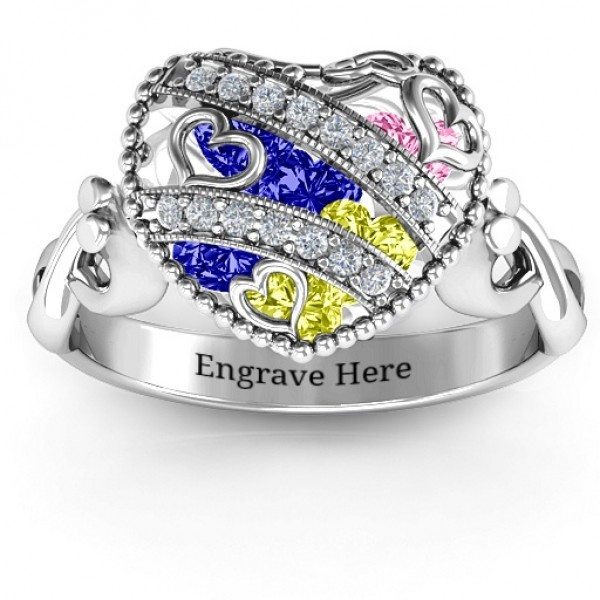 Sparkling Hearts Caged Hearts Solid White Gold Ring with Infinity Band