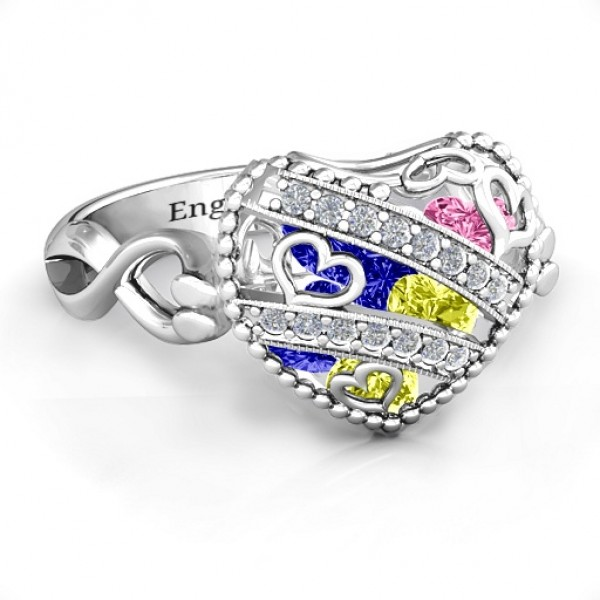 Sparkling Diamond Hearts Caged Hearts Solid White Gold Ring with Infinity Band