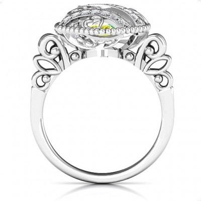 Sparkling Hearts Caged Hearts Solid White Gold Ring with Butterfly Wings Band