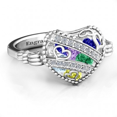 Sparkling Diamond Hearts Caged Hearts Solid White Gold Ring with Butterfly Wings Band