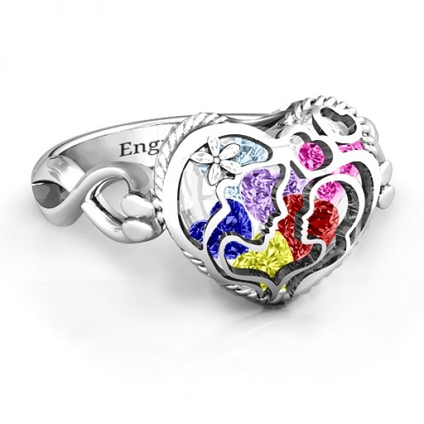 Mother and Child Caged Hearts Solid White Gold Ring with Infinity Band