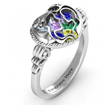 Mother and Child Caged Hearts Solid White Gold Ring with Butterfly Wings Band