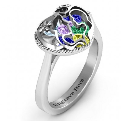 Mother and Child Caged Hearts Solid White Gold Ring with Ski Tip Band