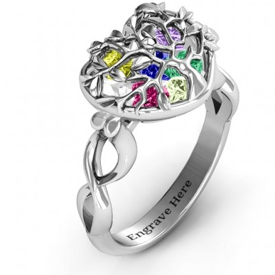 Family Tree Caged Hearts Solid White Gold Ring with Infinity Band