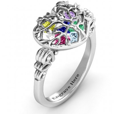 Family Tree Caged Hearts Solid White Gold Ring with Butterfly Wings Band