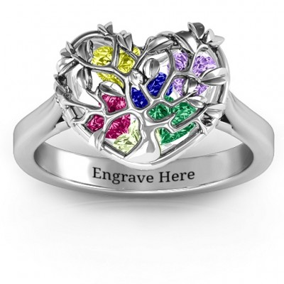 Family Tree Caged Hearts Solid White Gold Ring with Ski Tip Band