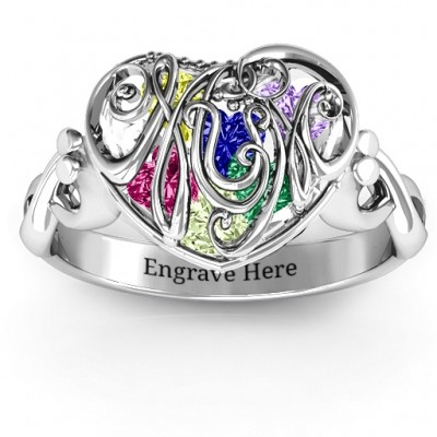 Cursive Mom Caged Hearts Solid White Gold Ring with Infinity Band