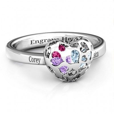 Heart Cut-out Petite Caged Hearts Solid White Gold Ring with Classic with Engravings Band