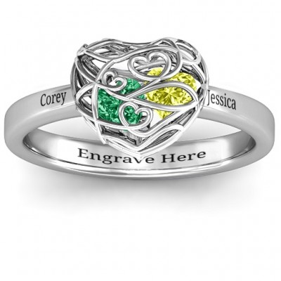 Encased in Love Petite Caged Hearts Solid White Gold Ring with Classic with Engravings Band