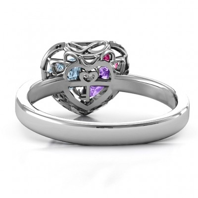 2015 Petite Caged Hearts Solid White Gold Ring with Classic Band