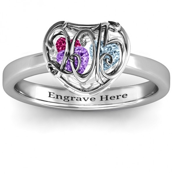 2015 Petite Caged Hearts Solid White Gold Ring with Classic with Engravings Band