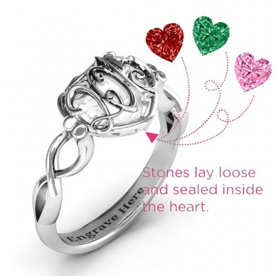 2015 Petite Caged Hearts Solid White Gold Ring with Infinity Band