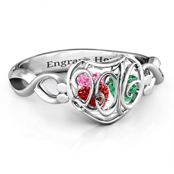 2016 Petite Caged Hearts Solid White Gold Ring with Infinity Band