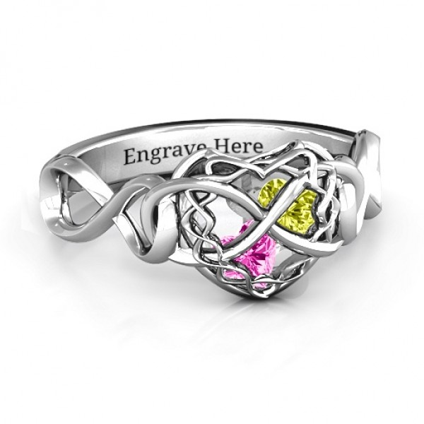 My Infinite Love Caged Hearts Solid White Gold Ring