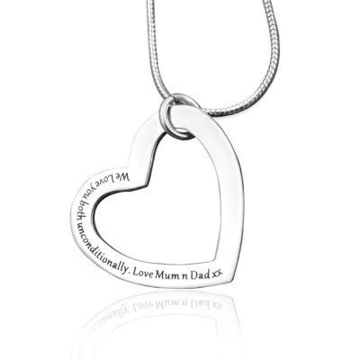 Solid White Gold Always in My Heart Necklace -