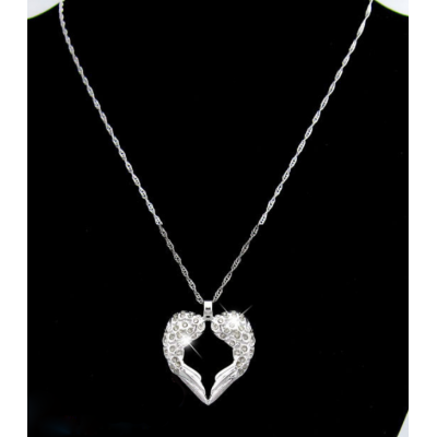 Solid White Gold Angels Heart -