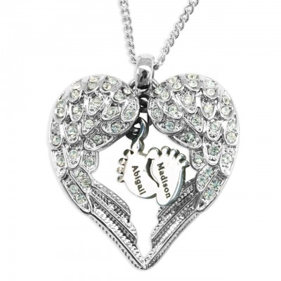 Solid White Gold Angels Heart Necklace with Feet Insert