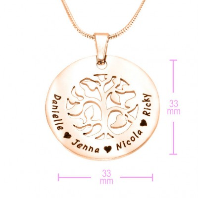 Personalised BFS Family Tree Necklace - 18CT Rose Gold