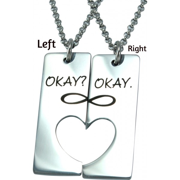 Solid White Gold Bar of Hearts Two Necklaces