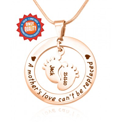 Personalised Cant Be Replaced Necklace - Single Feet 18mm - 18CT Rose Gold