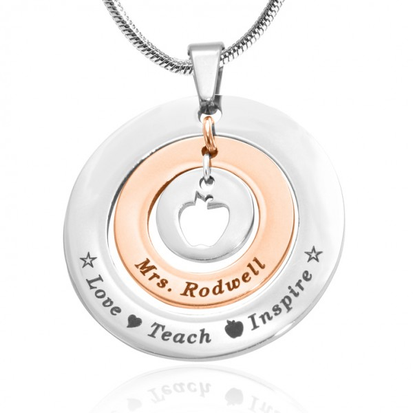 Solid Gold Circles of Love Name Necklace Teacher - TWO TONE