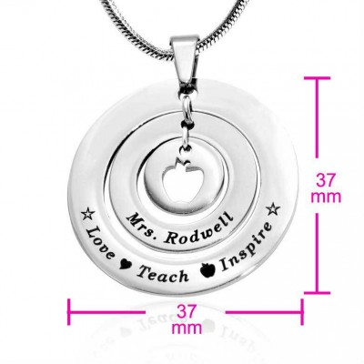 Solid White Gold Circles of Love Necklace Teacher -