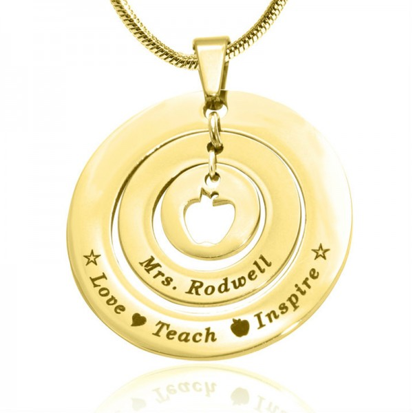 Personalised Circles of Love Necklace Teacher - 18CT Gold