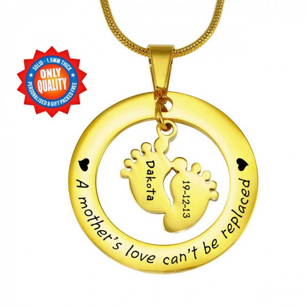 Personalised Cant Be Replaced Necklace - Single Feet 18mm - 18CT Gold