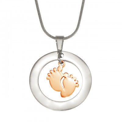 Personalised Cant Be Replaced Necklace - Single Feet 18mm - Two Tone - 18CT Rose Gold