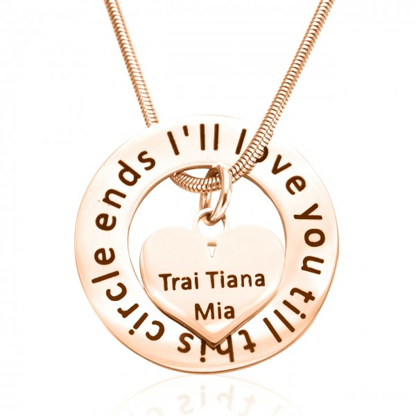 Personalised Circle My Heart Necklace - 18CT Rose Gold