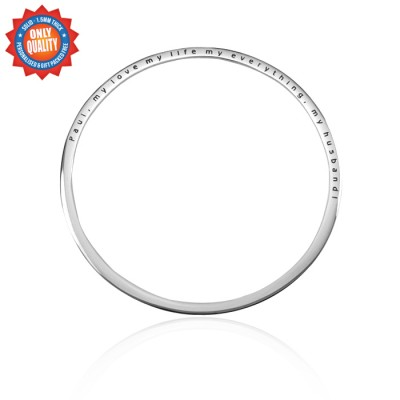 Solid White Gold Classic Bangle -