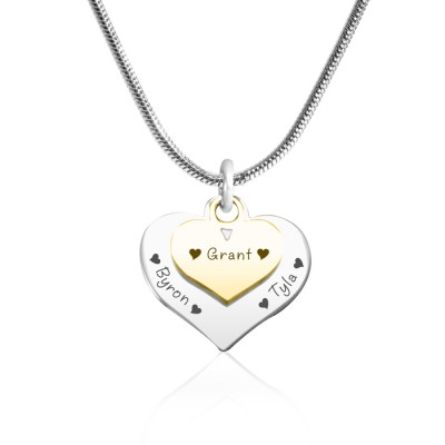 Solid Gold Double Heart Name Necklace - Two Tone