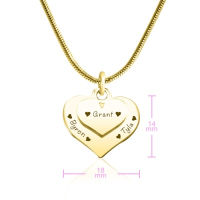 Personalised Double Heart Necklace - 18CT Gold