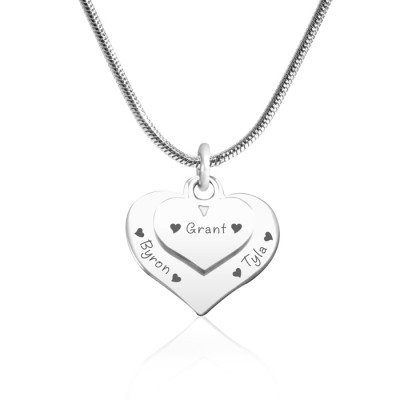 Solid Gold Double Heart Necklace -
